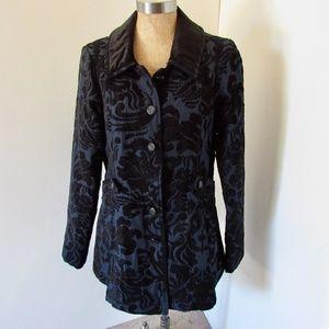 Free People Newsroom Brocade Coat SZ 12 Singe Breast/Pockets Collar